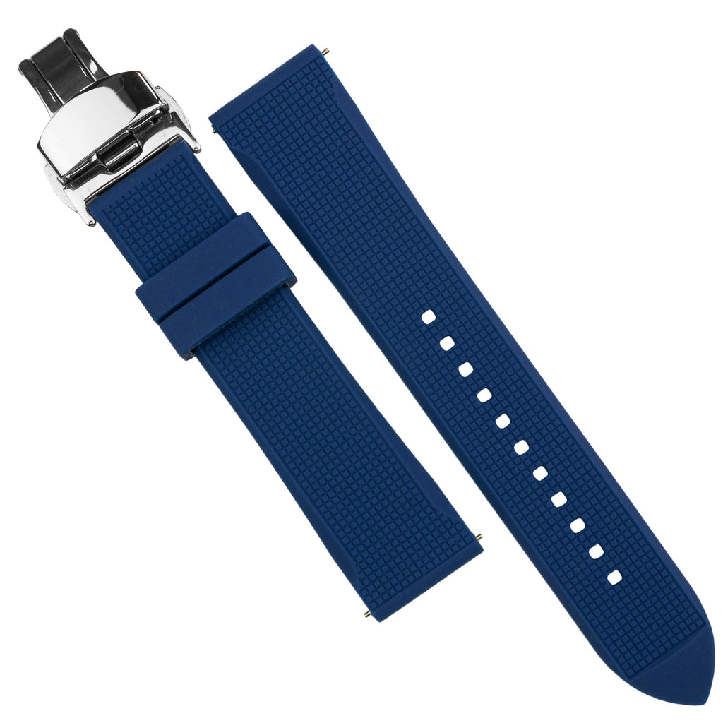 Silicone Rubber Strap w/ Butterfly Clasp in Navy (22mm) - Nomad Watch Works SG