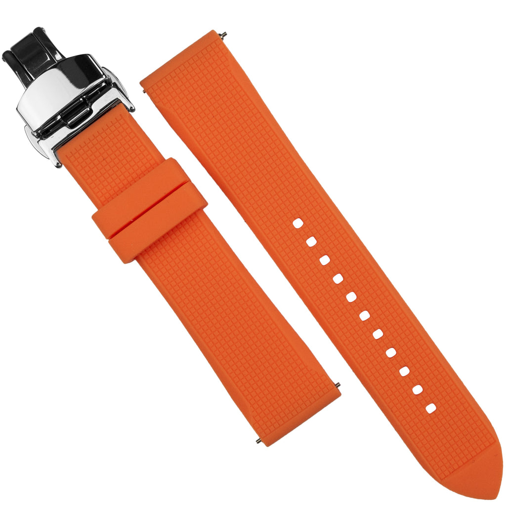 Silicone Rubber Strap w/ Butterfly Clasp in Orange (18mm) - Nomad Watch Works SG