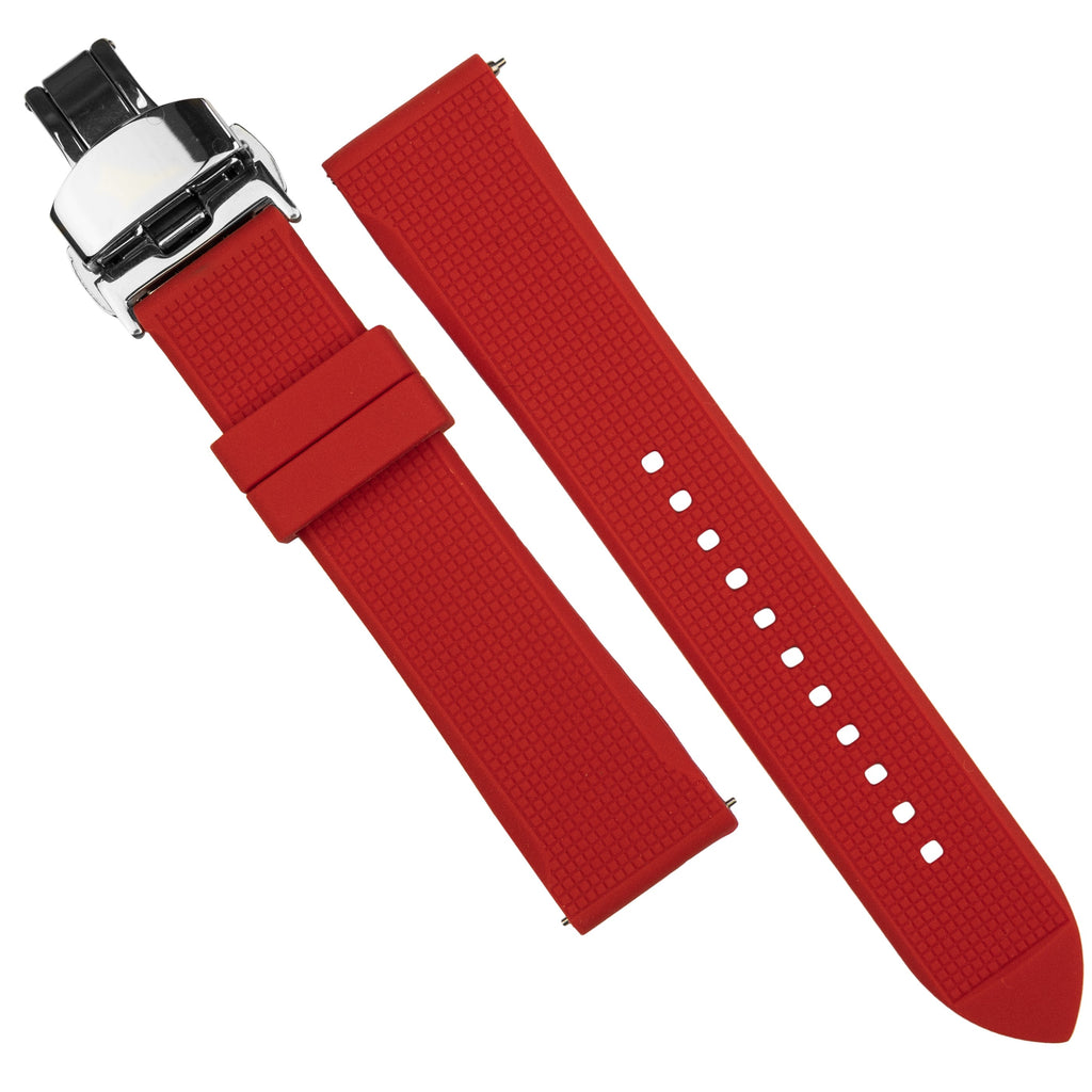 Silicone Rubber Strap w/ Butterfly Clasp in Red (18mm) - Nomad Watch Works SG