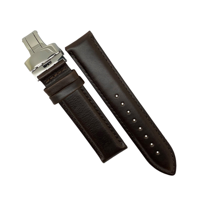 Genuine Smooth Leather Watch Strap in Brown w/ Butterfly Clasp (20mm) - Nomad watch Works