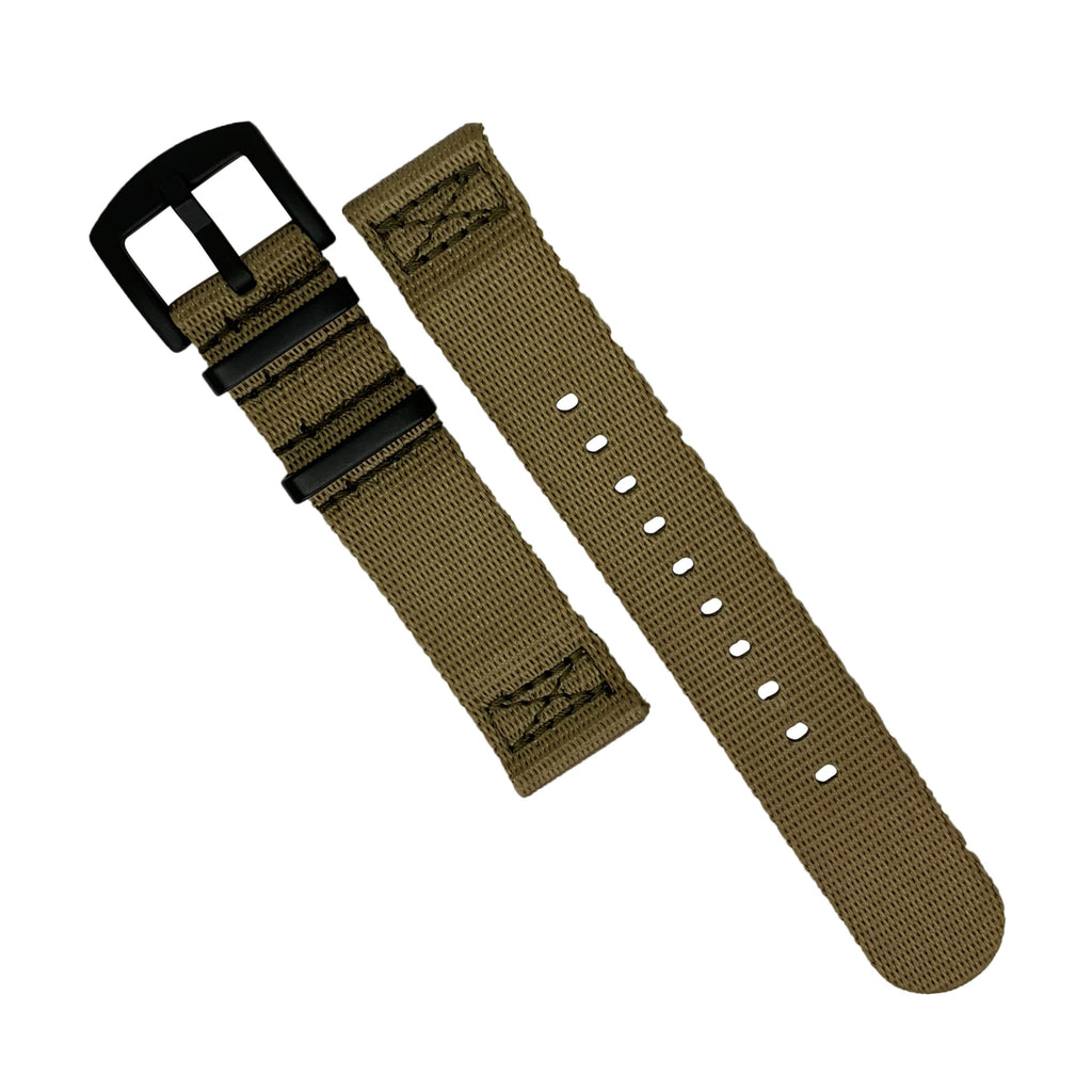 Two Piece Seat Belt Nato Strap in Khaki with Black Buckle (20mm)