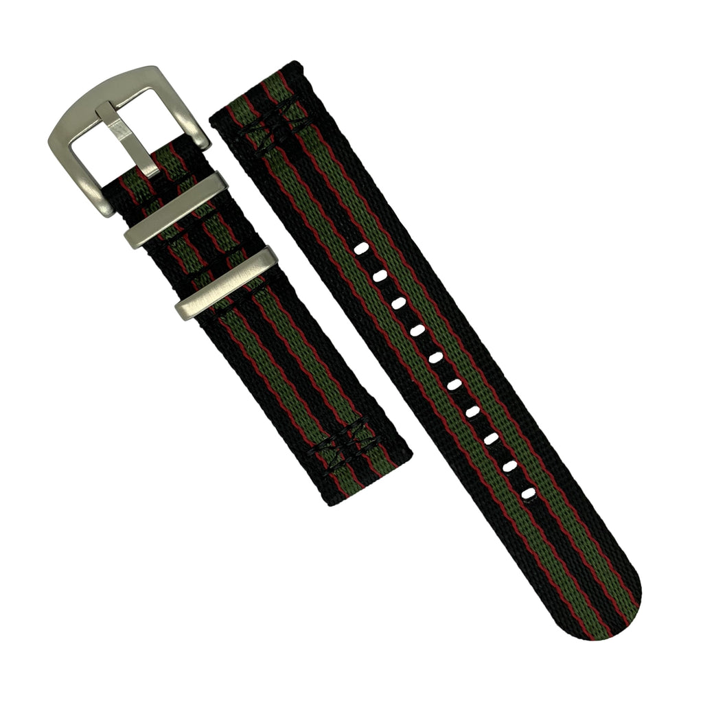 Two Piece Seat Belt Nato Strap in Black Green Red (James Bond) with Brushed Silver Buckle (20mm)