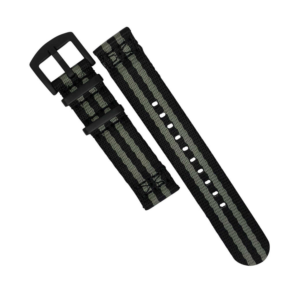 Two Piece Seat Belt Nato Strap in Black Grey (James Bond) with Black Buckle (22mm)