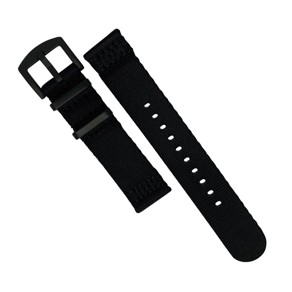 Two Piece Seat Belt Nato Strap in Black with Black Buckle (22mm) - Nomad watch Works