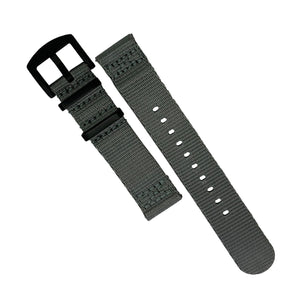 Two Piece Seat Belt Nato Strap in Grey with Black Buckle (20mm) - Nomad watch Works