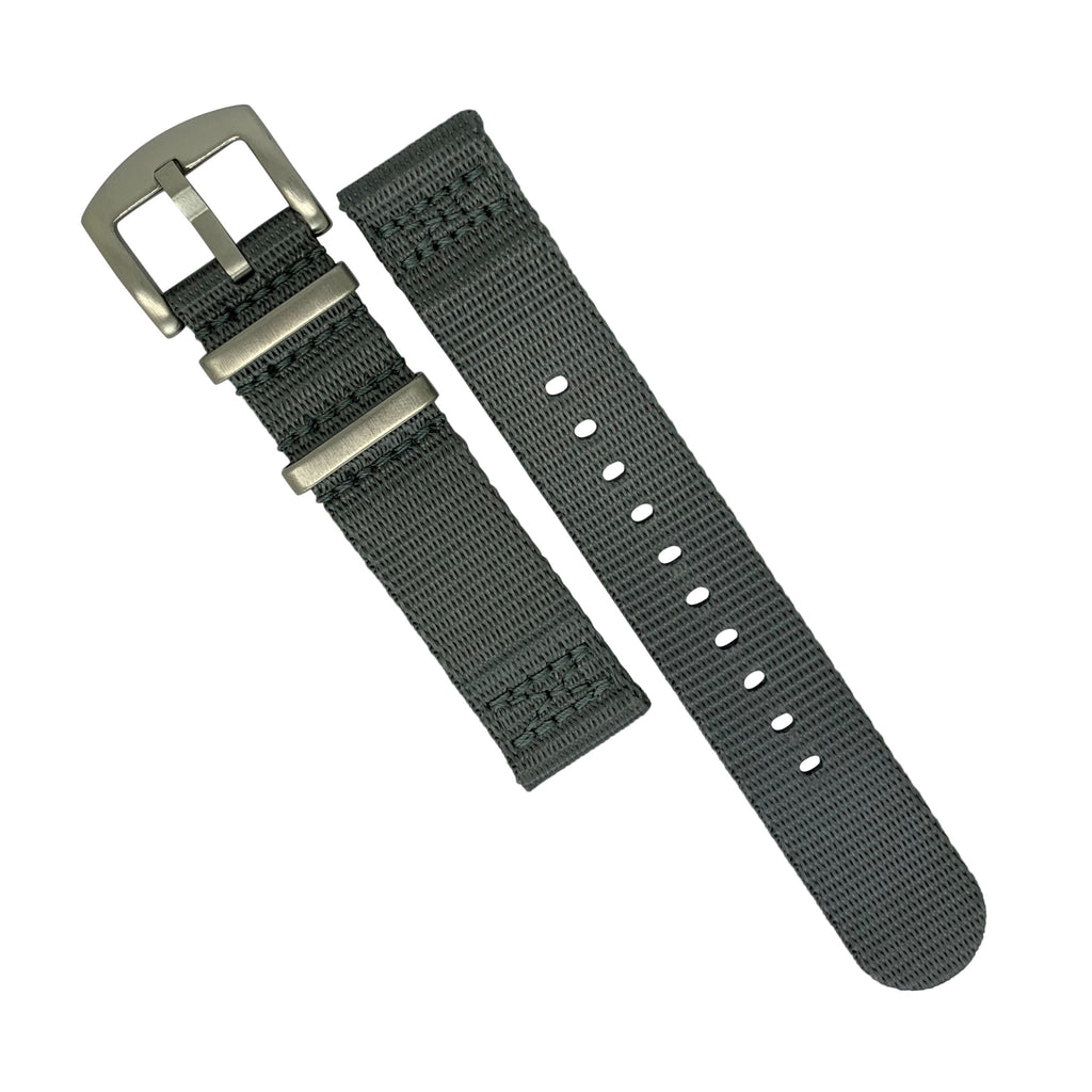Two Piece Seat Belt Nato Strap in Grey with Brushed Silver Buckle (22mm)