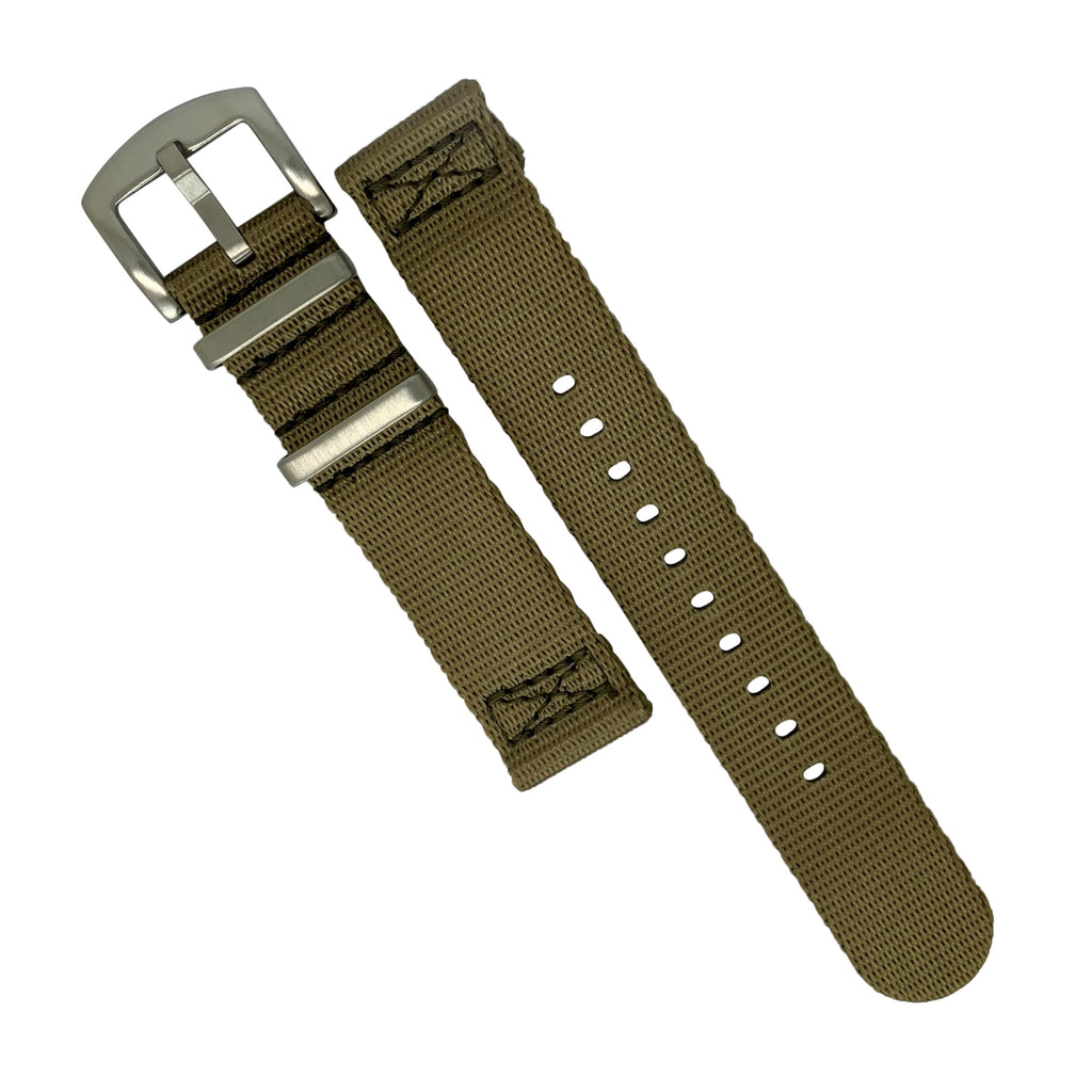 Two Piece Seat Belt Nato Strap in Khaki with Brushed Silver Buckle (22mm)