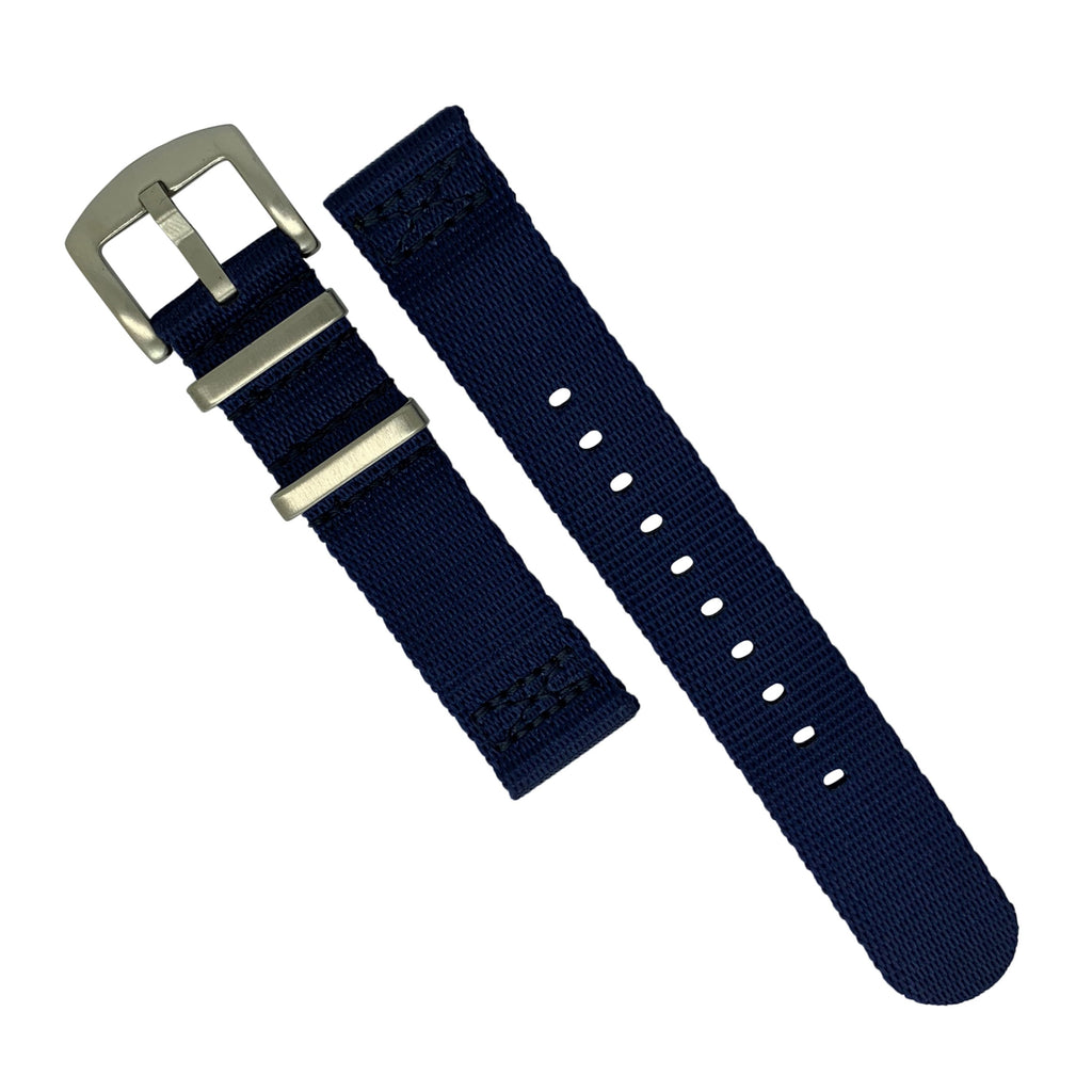 Two Piece Seat Belt Nato Strap in Navy with Brushed Silver Buckle (22mm)