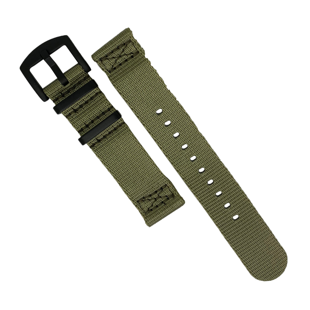Two Piece Seat Belt Nato Strap in Olive with Black Buckle (20mm) - Nomad watch Works