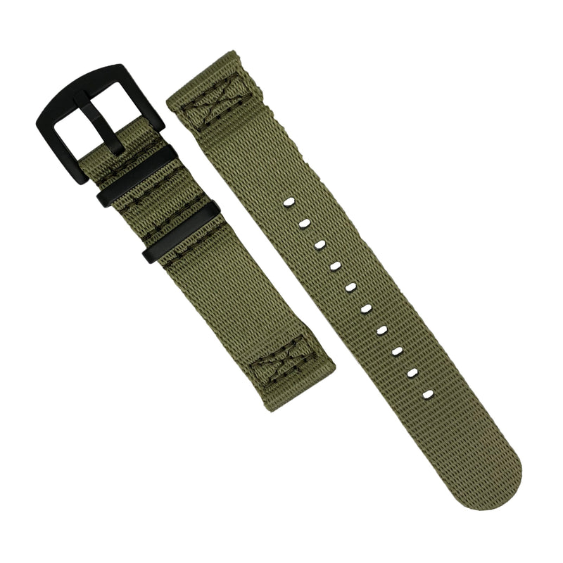Two Piece Seat Belt Nato Strap in Olive with Black Buckle (22mm) - Nomad watch Works