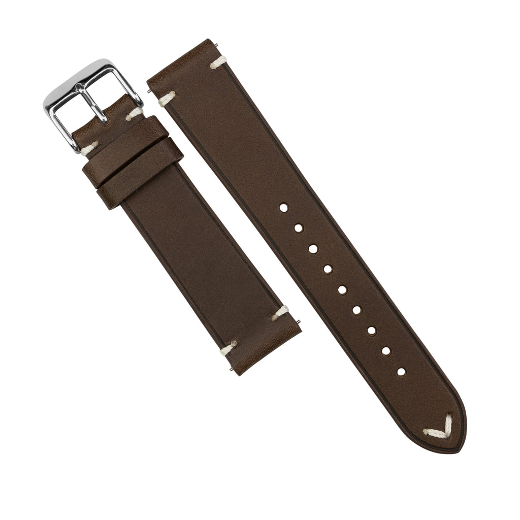 Emery Vintage Buttero Leather Strap in Brown (22mm) - Nomad Watch Works SG