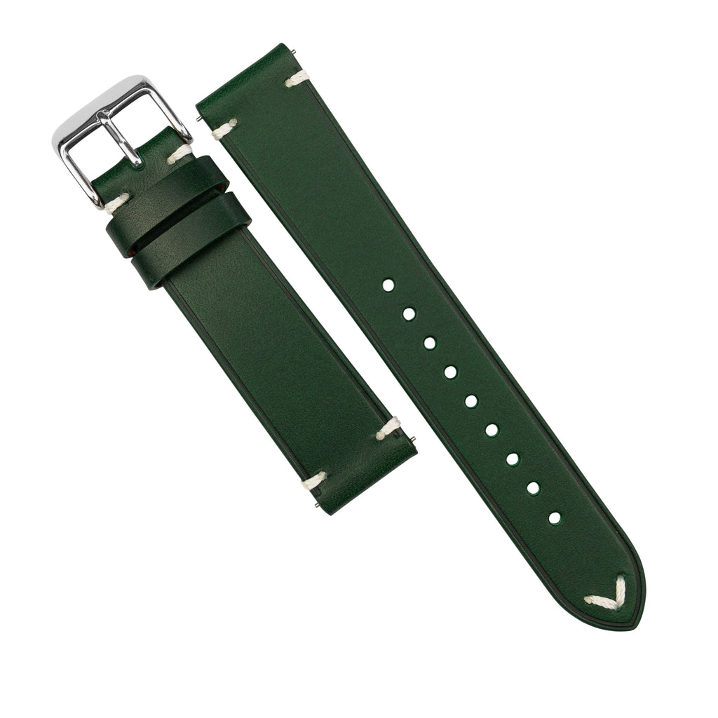 Emery Vintage Buttero Leather Strap in Green (22mm) - Nomad Watch Works SG