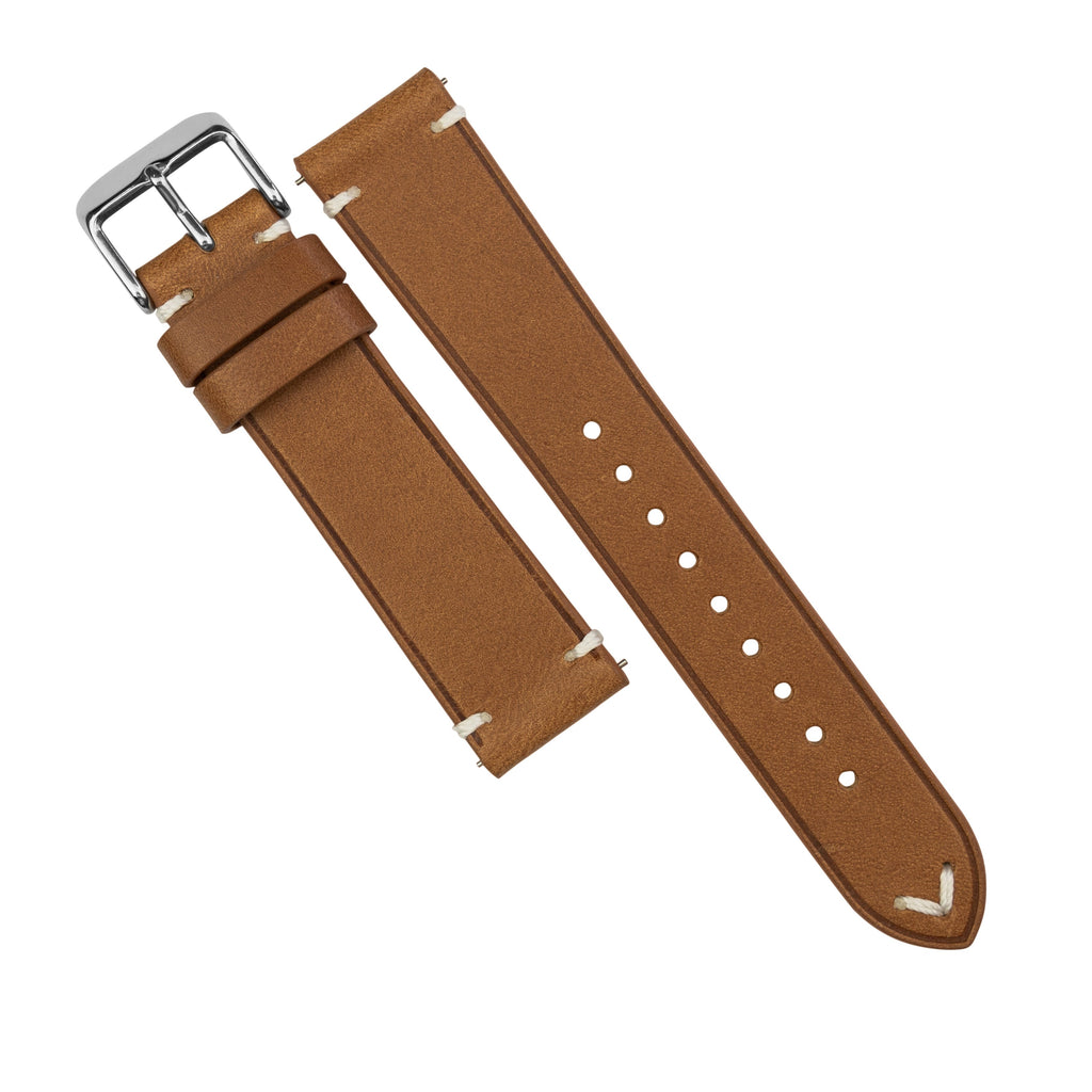 Emery Vintage Buttero Leather Strap in Tan (21mm) - Nomad Watch Works SG