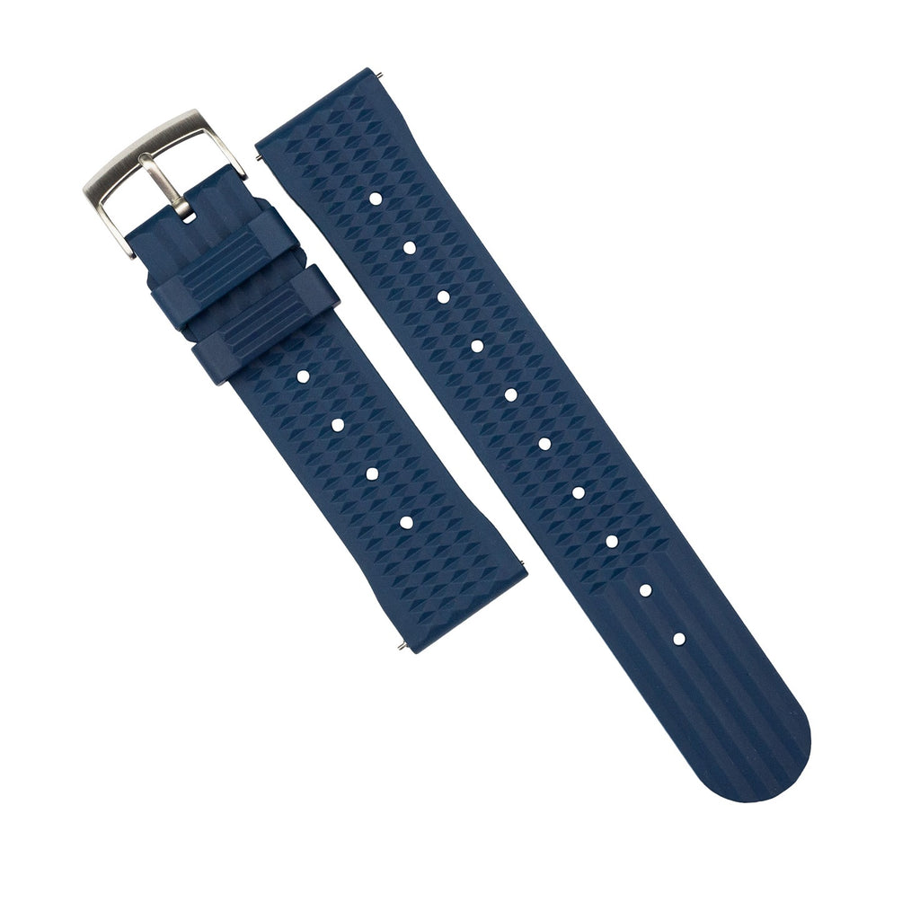 Waffle FKM Rubber Strap in Navy (20mm) - Nomad watch Works