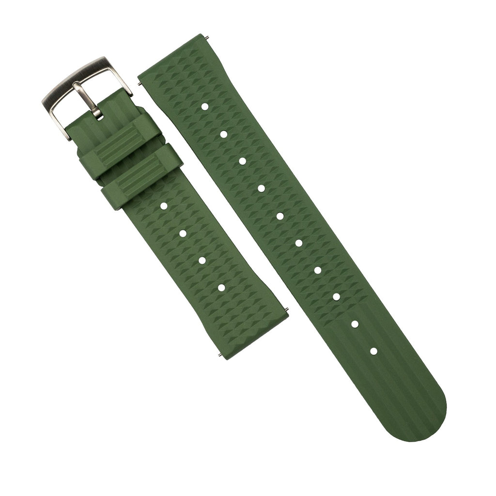 Waffle FKM Rubber Strap in Green (20mm) - Nomad watch Works