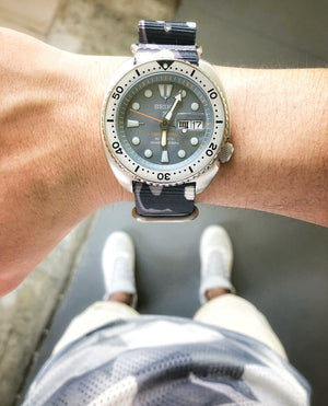 Heavy Duty Zulu Strap in White Camo with PVD Black Buckle (22mm) - Nomad watch Works