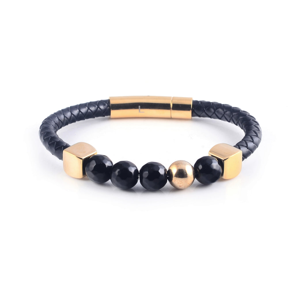 Lava Leather Bracelet in Yellow Gold (Size M)