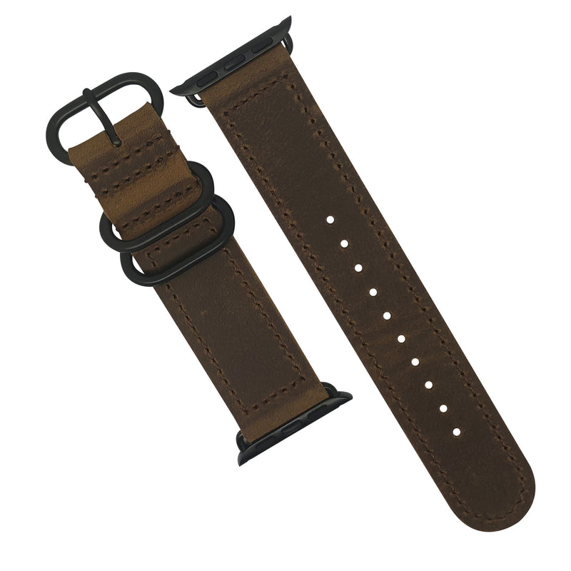 Apple Watch Leather Zulu Strap in Brown with Black Buckle (38 & 40mm) - Nomad watch Works