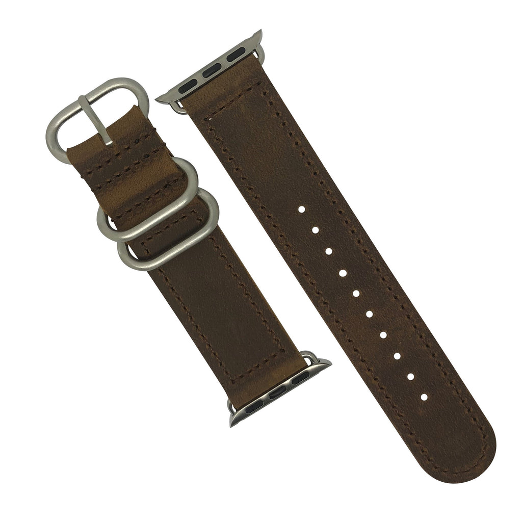 Apple Watch Leather Zulu Strap in Brown with Silver Buckle (38 & 40mm) - Nomad watch Works