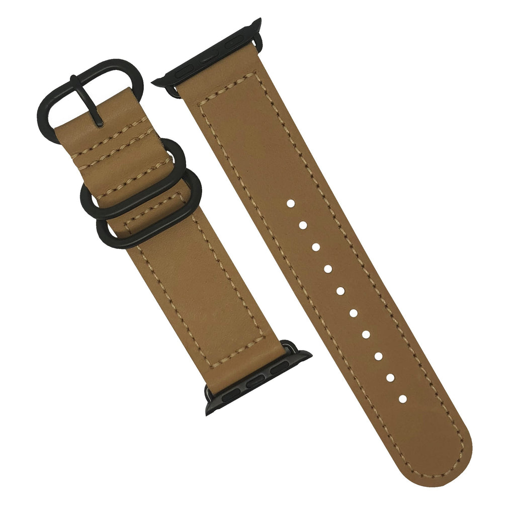 Apple Watch Leather Zulu Strap in Natural with Black Buckle (38 & 40mm) - Nomad watch Works