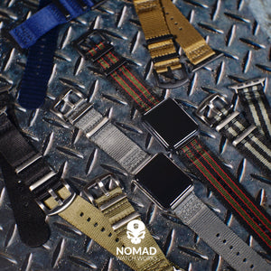 Apple Watch Seat Belt Nato Strap in Black Grey (James Bond) with Black Buckle (42 & 44mm) - Nomad watch Works
