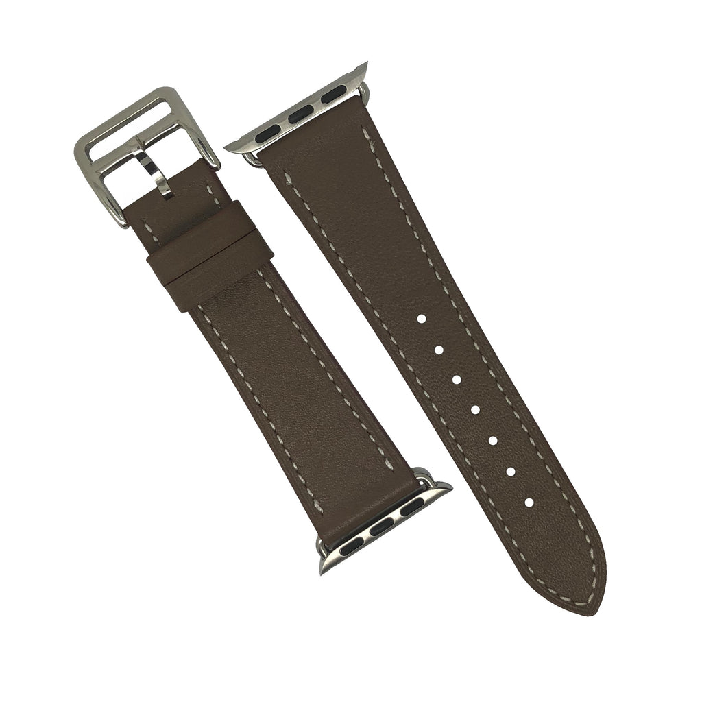 Apple Watch Leather Strap in Brown with Silver Buckle - Single Tour (38 & 40mm) - Nomad watch Works