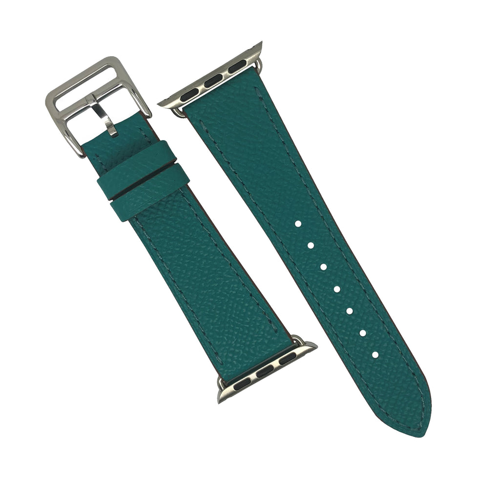 Apple Watch Leather Strap in Emerald with Silver Buckle - Single Tour (42 & 44mm) - Nomad watch Works