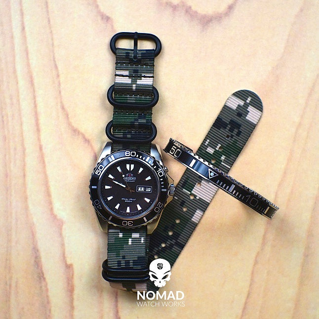 Heavy Duty Zulu Strap in Digital Camo with PVD Black Buckle (22mm) - Nomad watch Works