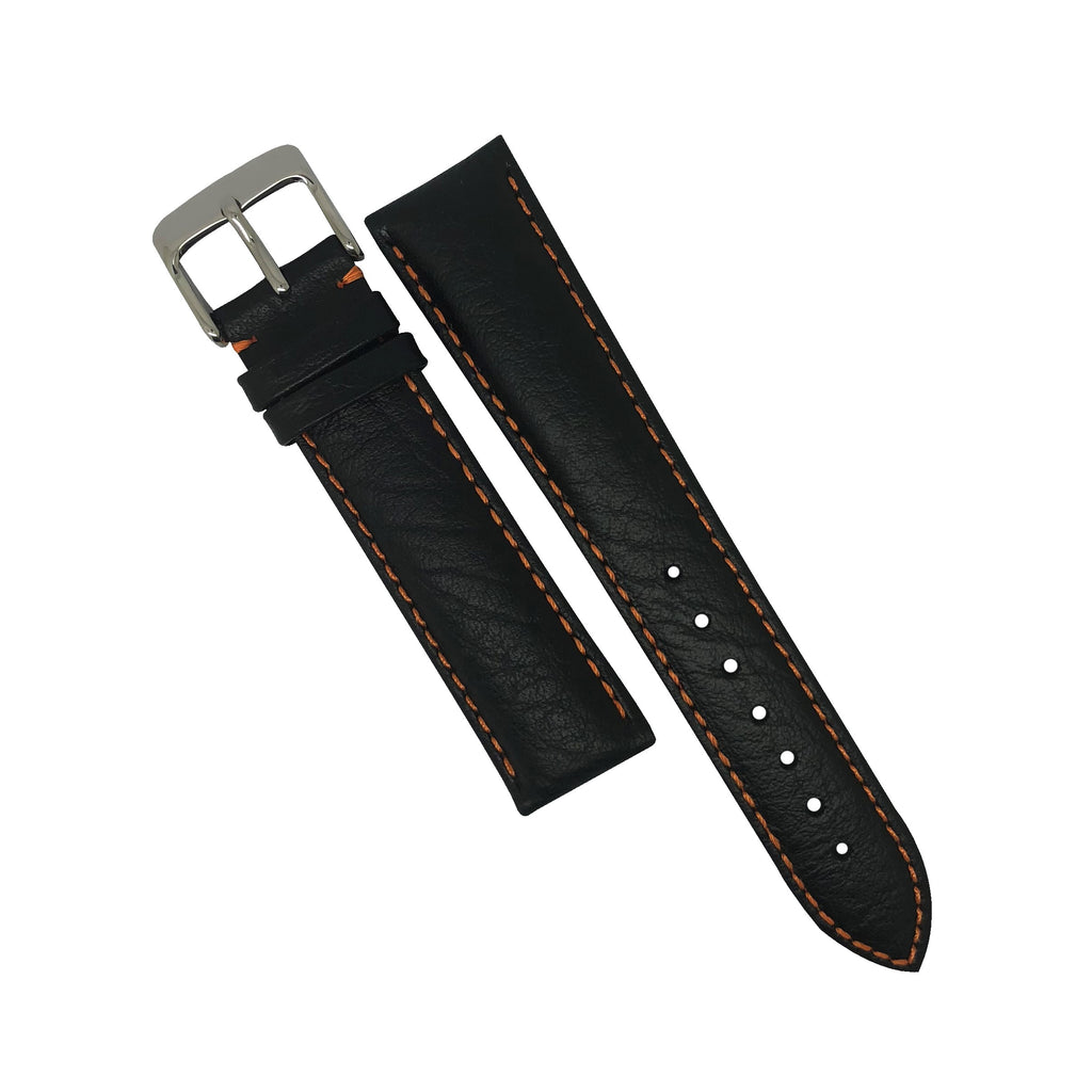 Genuine Distressed Leather Watch Strap in Black with Orange Stitching (22mm) - Nomad watch Works