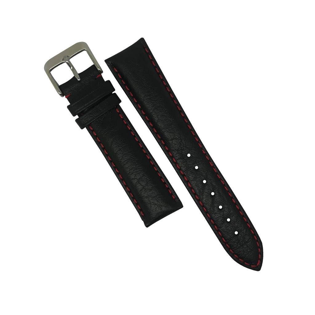 Genuine Distressed Leather Watch Strap in Black with Red Stitching (20mm) - Nomad watch Works