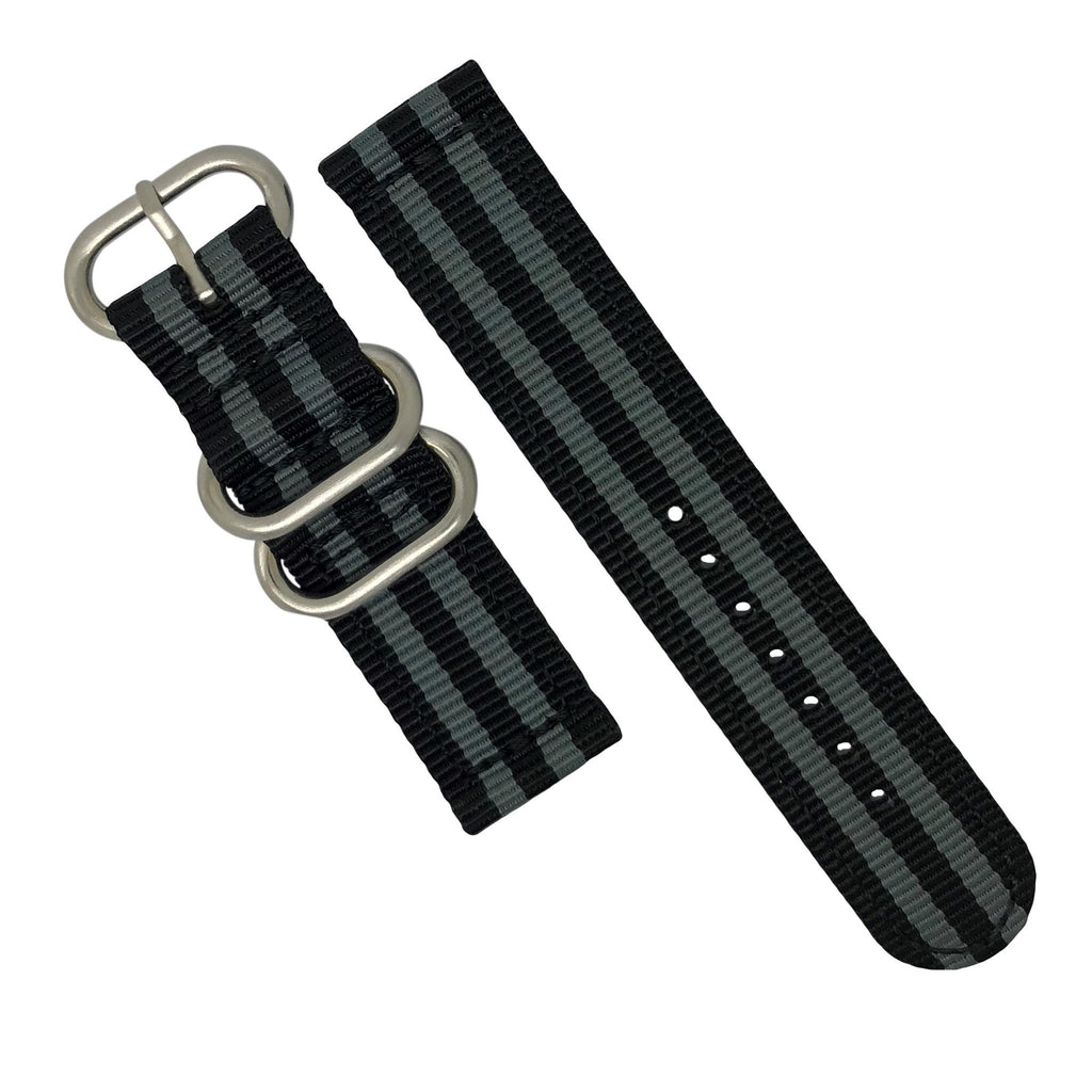 Two Piece Heavy Duty Zulu Strap in Black Grey (James Bond) with Silver Buckle (22mm)