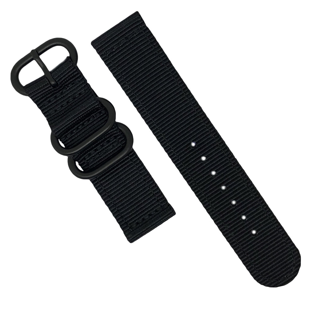 Two Piece Heavy Duty Zulu Strap in Black with PVD Black Buckle (20mm) - Nomad watch Works