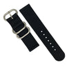 Two Piece Heavy Duty Zulu Strap in Black with Silver Buckle (20mm) - Nomad watch Works