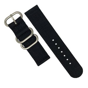 Two Piece Heavy Duty Zulu Strap in Black with Silver Buckle (22mm) - Nomad watch Works