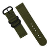 Two Piece Heavy Duty Zulu Strap in Olive with PVD Black Buckle (20mm) - Nomad watch Works