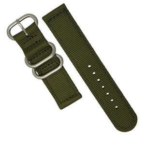 Two Piece Heavy Duty Zulu Strap in Olive with Silver Buckle (20mm) - Nomad watch Works
