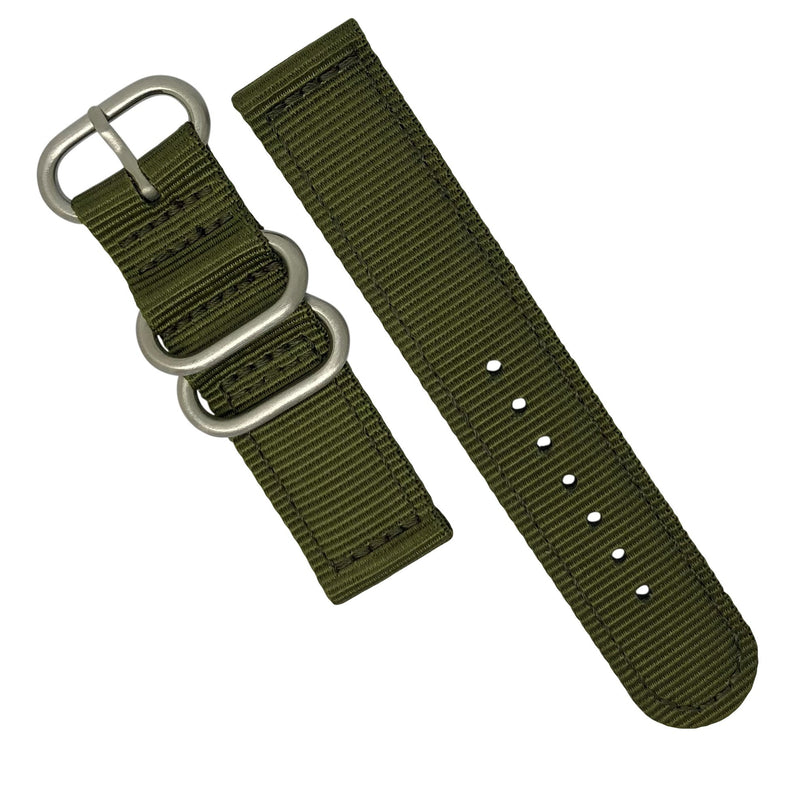 Two Piece Heavy Duty Zulu Strap in Olive with Silver Buckle (22mm) - Nomad watch Works