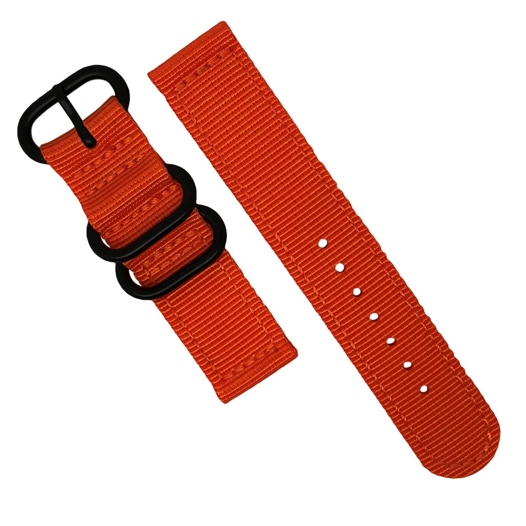 Two Piece Heavy Duty Zulu Strap in Orange with PVD Black Buckle (20mm) - Nomad watch Works