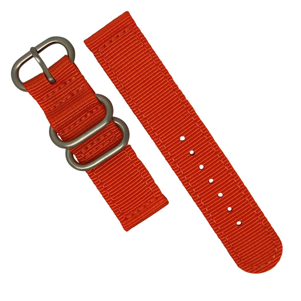 Two Piece Heavy Duty Zulu Strap in Orange with Silver Buckle (22mm) - Nomad watch Works