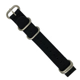 Heavy Duty Zulu Strap in Black with Silver Buckle (20mm) - Nomad watch Works