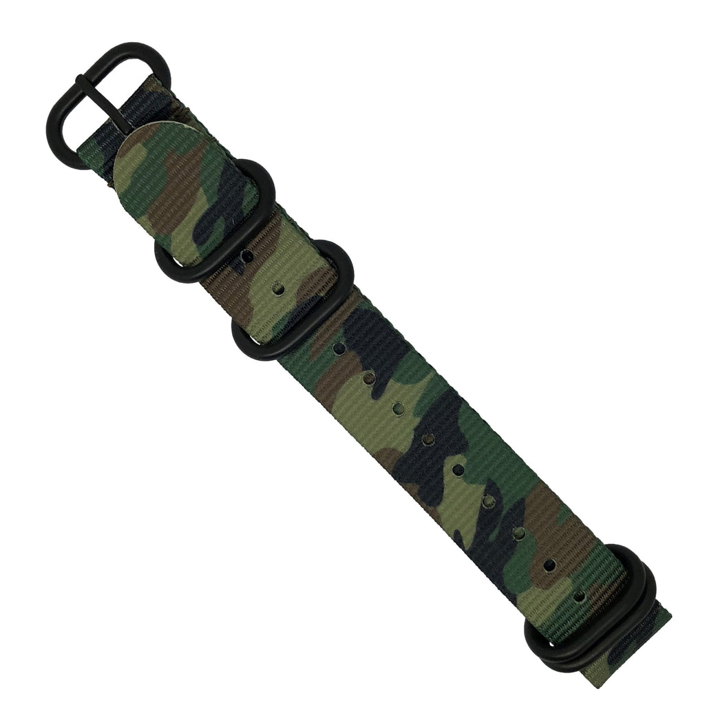 Heavy Duty Zulu Strap in Green Camo with PVD Black Buckle (22mm) - Nomad watch Works