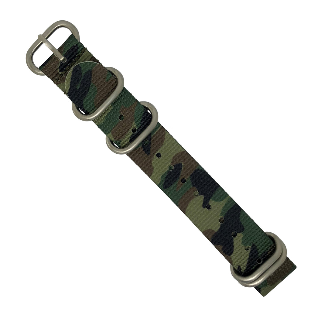 Heavy Duty Zulu Strap in Green Camo with Silver Buckle (24mm) - Nomad watch Works