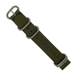 Heavy Duty Zulu Strap in Olive with Silver Buckle (24mm) - Nomad watch Works