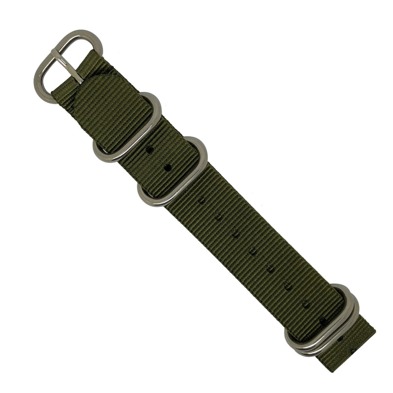 Heavy Duty Zulu Strap in Olive with Silver Buckle (22mm) - Nomad watch Works