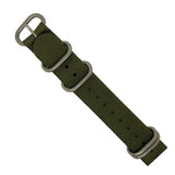 Heavy Duty Zulu Strap in Olive with Silver Buckle (20mm) - Nomad watch Works
