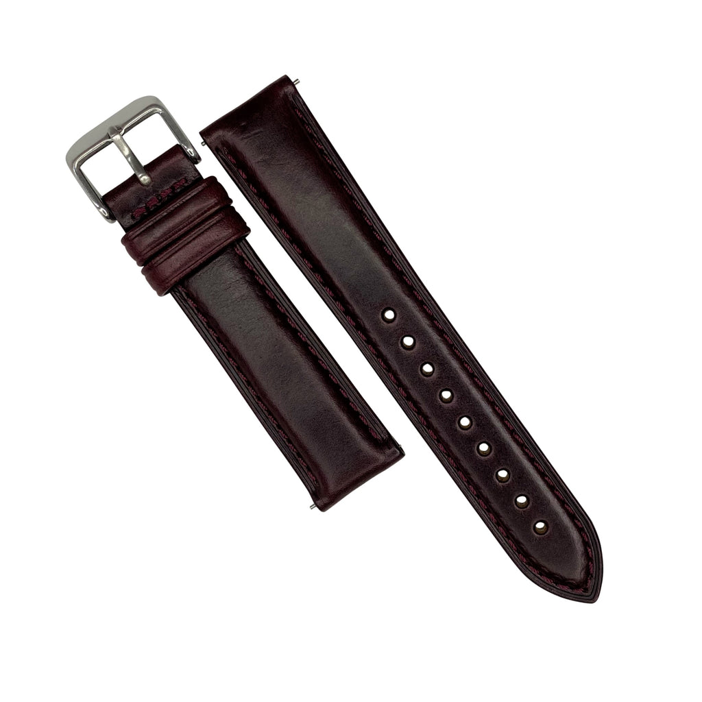 N2W Classic Horween Leather Strap in Chromexcel® Burgundy (22mm) - Nomad watch Works