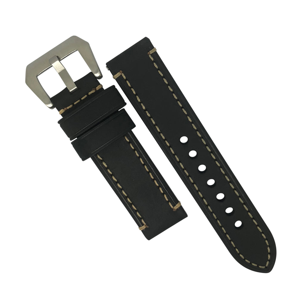 M1 Vintage Leather Watch Strap in Black with Pre-V Silver Buckle (24mm) - Nomad watch Works