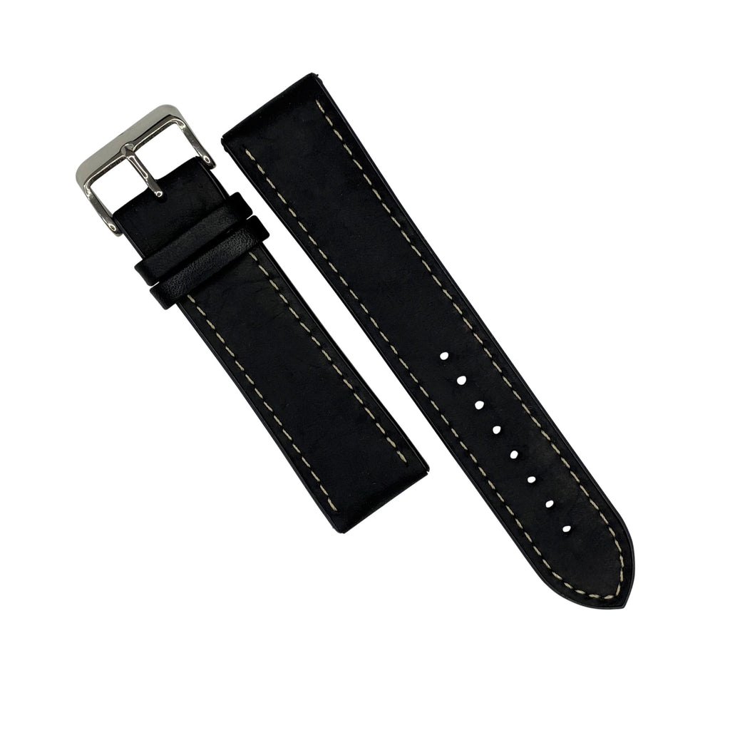 Performax Matt Leather Hybrid Strap in Black (22mm) - Nomad watch Works
