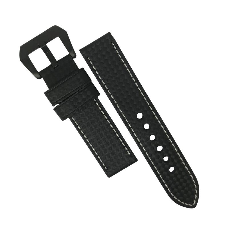 Premium Carbon Embossed Leather Watch Strap in White Stitching with Pre-V PVD Black Buckle (24mm) - Nomad watch Works