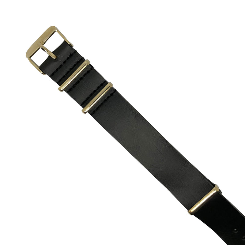 PU Leather Nato Strap in Black with Yellow Gold Buckle (20mm) - Nomad watch Works